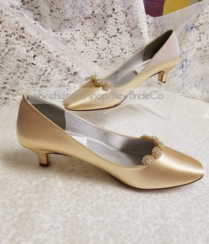 08a897db99a Gold Pump ShoesGolden Anniversary ShoesChampagne low heel