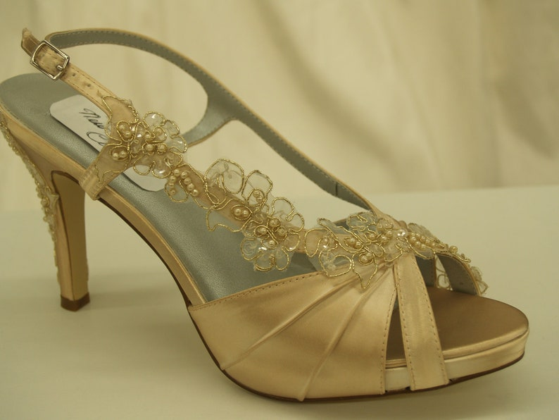 18470ff83f417 Wedding Shoes Gold Champagne- bridal shoes champagne, open toe hand dyed  satin heels, pearls and lace, Old Hollywood Glamour