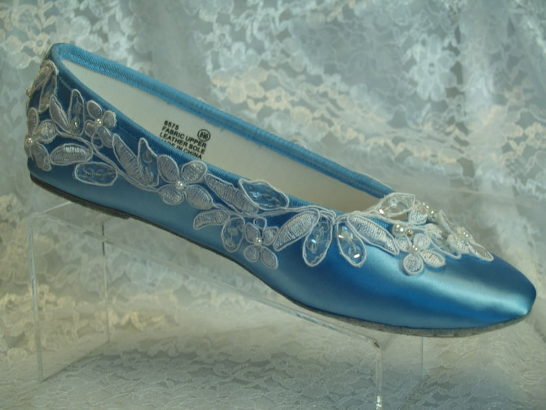a4fe2409afa Brides BLUE Wedding Flats BLUE satin Shoes White or Ivory