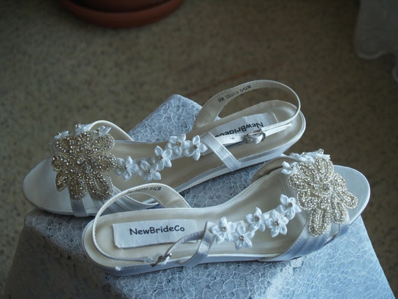 Shoes low Wedge 1 inch heel flowers crystals,Short Heel,White Satin Open Toe Bridal Sandal, Bling, White Flowers, Old Hollywood,Deco