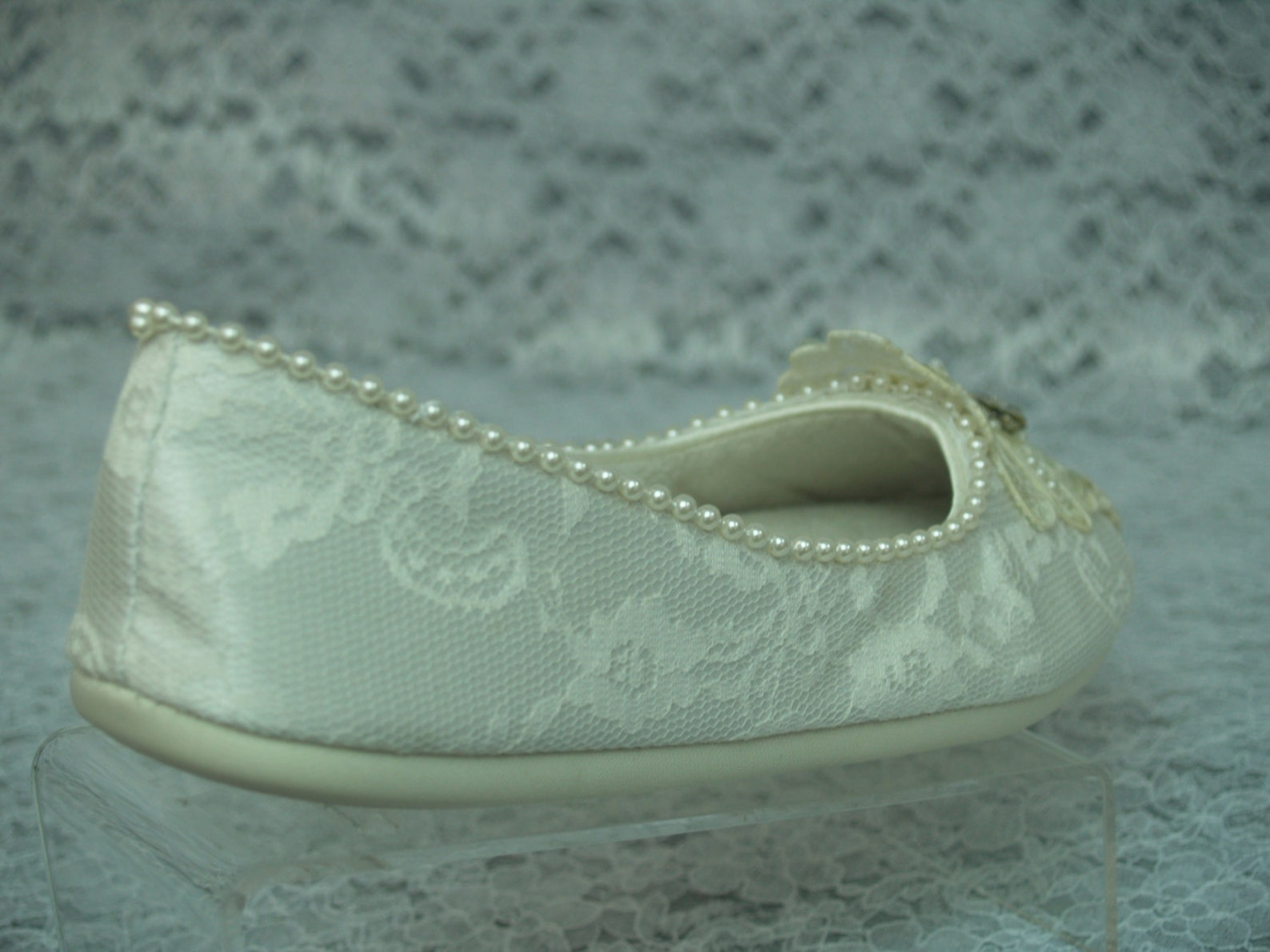 wedding ivory flats vegan shoes size 5, bridal comfortable slipper, cushioned ballet slipper, art deco nouveau, old hollywood gl