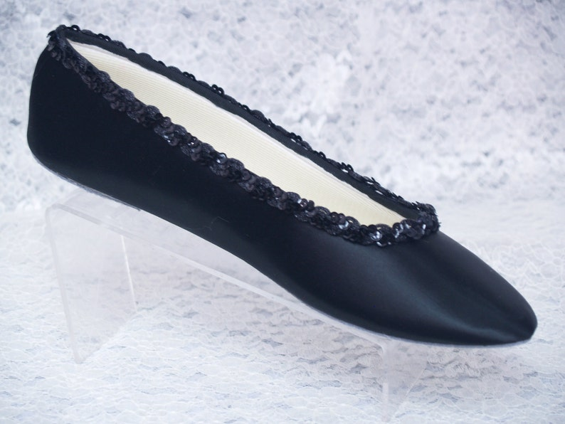History of Victorian Boots & Shoes for Women Wedding Black Satin Flat Shoes Ballet Style Slipper w Sequins Trim Goth Wedding Shoesblack flats bridesmaids Special Occasion Comfort $118.00 AT vintagedancer.com