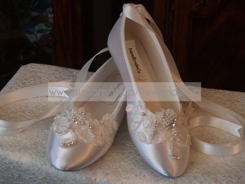 1b871d7ffc6 Brides OffWhite Wedding Flats, Satin Ivory Shoes, Lace Applique with  Pearls, Lace Up Ribbon Ballet Style Slipper, Comfortable Wedding Shoes