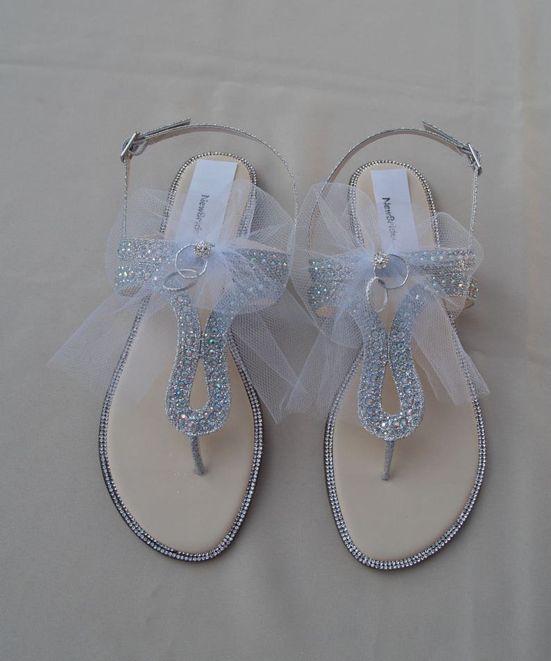 e21a4a37bb27f SIZE 9M Honeymoon Silver Sandals with white tulle veil and  rings,Destination Wedding sandals, Bridal Shower Gift,Wedding Silver Sandals