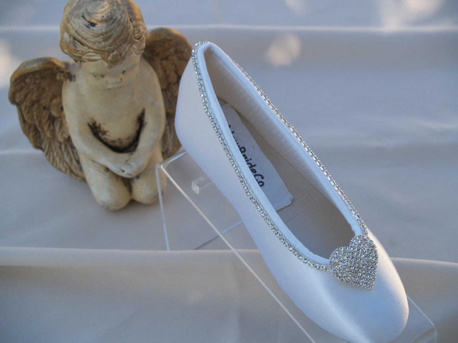 shoes flower girls crystal heart satin crystals edging flats, girls wedding ballet style slippers, closed toe flats,chic