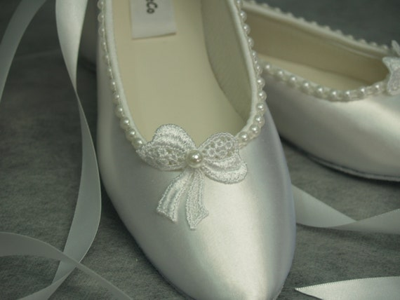 e36357da7ca5 White ballet style slippers with lace bow   pearls Wedding