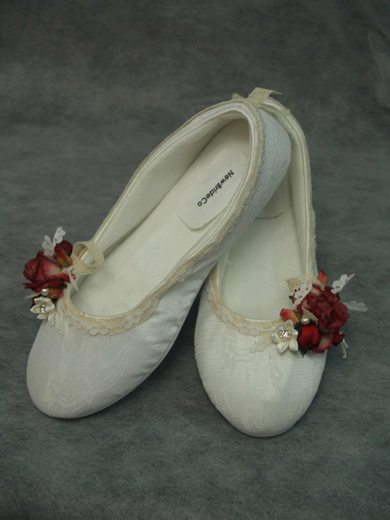 brides wedding flats, red rustic wedding burlap trimmed ballet style slippers,cushioned & comfortable, outdoor country wedding,