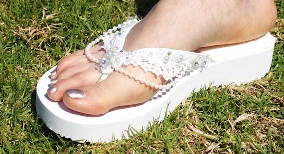 925404369 White Wedding Sandals 100% Vegan Thongs embellished flip