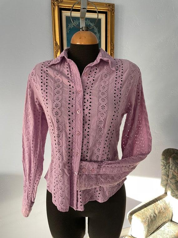 Lilac eyelet Vintage Blouse long sleeves US size … - image 1