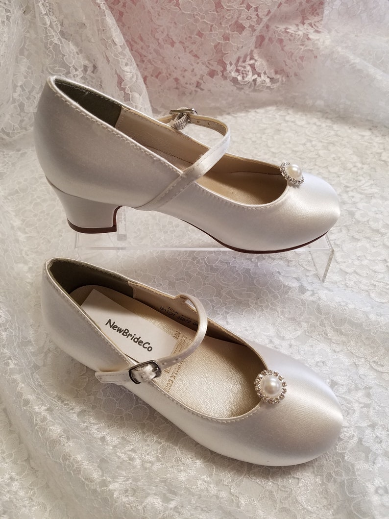 13662aa2d5f4 Girls Communion Shoes Crystals pearls brooch White plus more