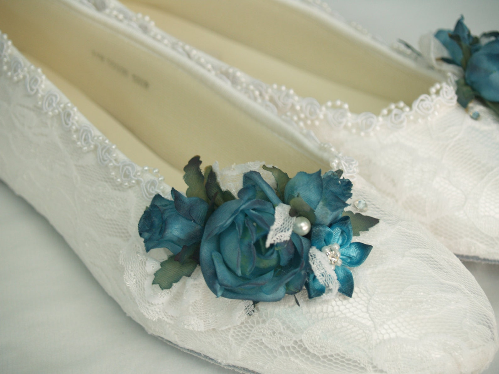 lace bridal flats teal flowers adornment over white lace,wedding flats, ballet style slipper, lace, teal peacock blue flowers, r