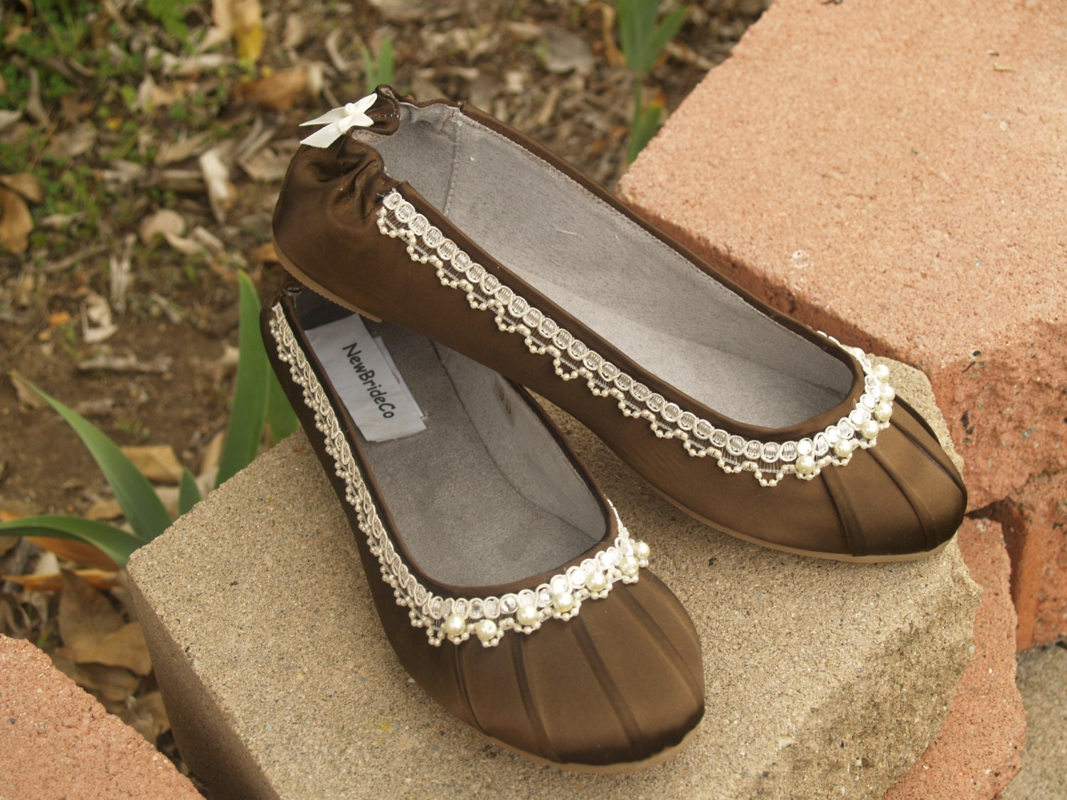 Brown Flats Or Sage Flat Shoes Fancy Shoes For Wedding Or Prom Bridesmaids Chocolate Pearls Embellished Perfectly Dainty