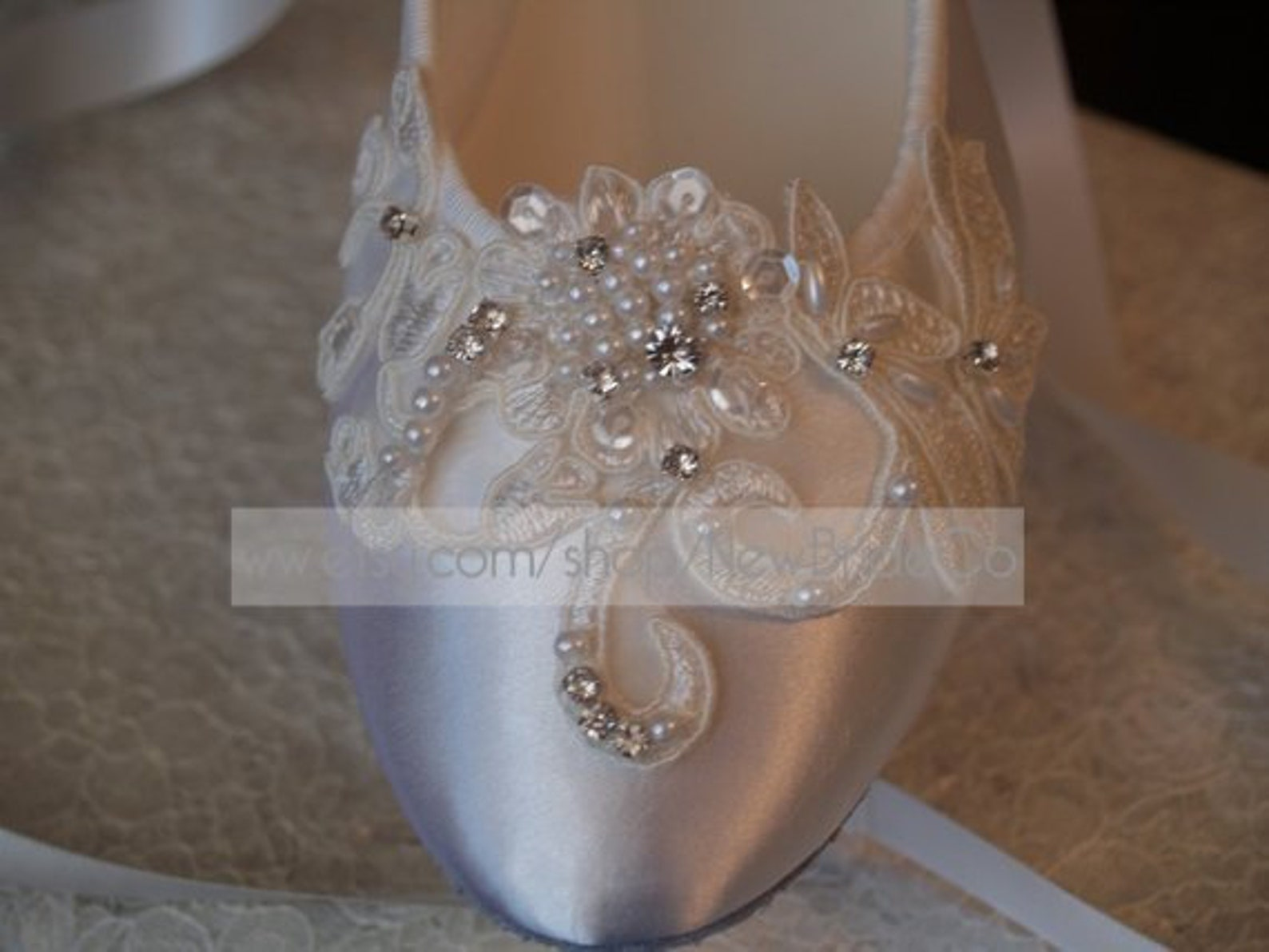 brides white wedding flats, satin ivory shoes, lace applique with pearls, lace up ribbon ballet style slipper, comfortable weddi