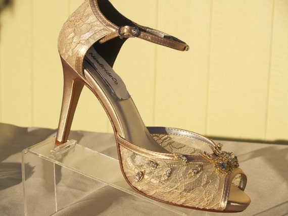 Champagne Gold Lace Wedding Shoes Peep Toe 3 1 2 Inch Etsy