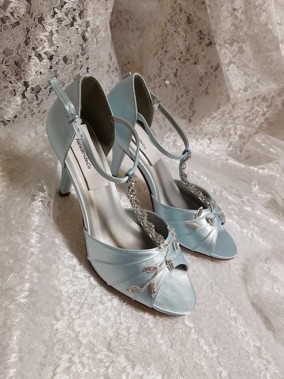 Powder Blue Heels Shoes Silver