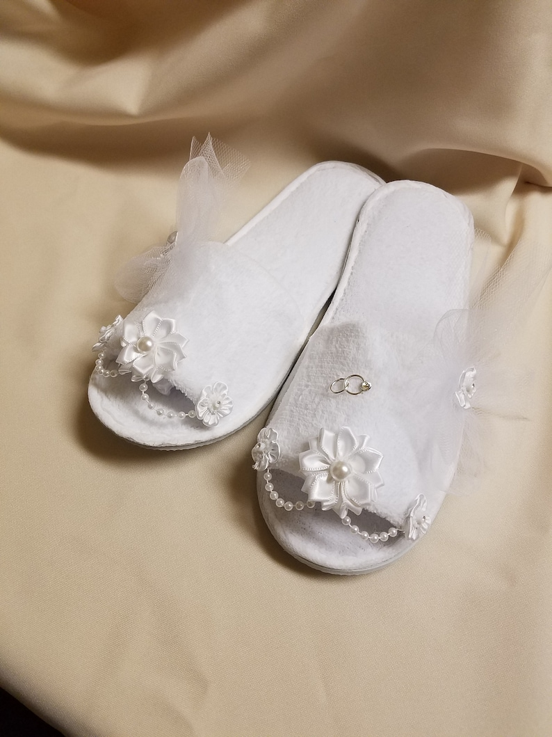 bfbc5e69911be Brides Bedroom Slippers white tulle veil one set of rings and flowers,  Bridal Slippers, Brides Comfort,Bridal Shower Gift,Wedding Slippers