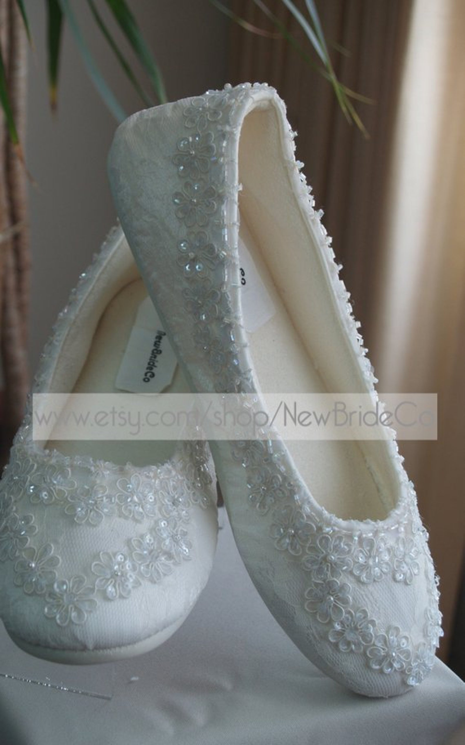 wedding ivory flats vegan shoes embellished with beading edge and sequins appliques, gorgeous victorian ballet style slippers, p