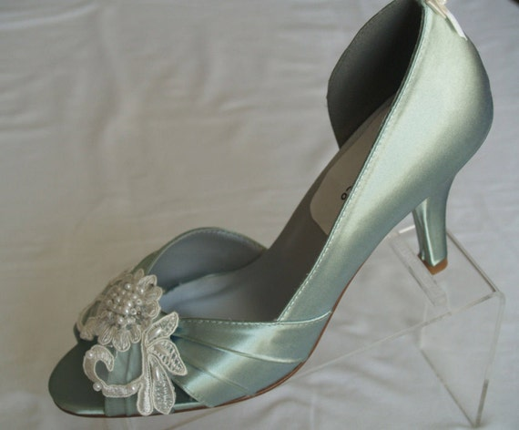 Brides Sage Wedding Shoes with beautiful Ivory or White appliqué, Peep Toe Pumps,Sage Green Satin Heels,Country Chic Outdoor Rustic Garden