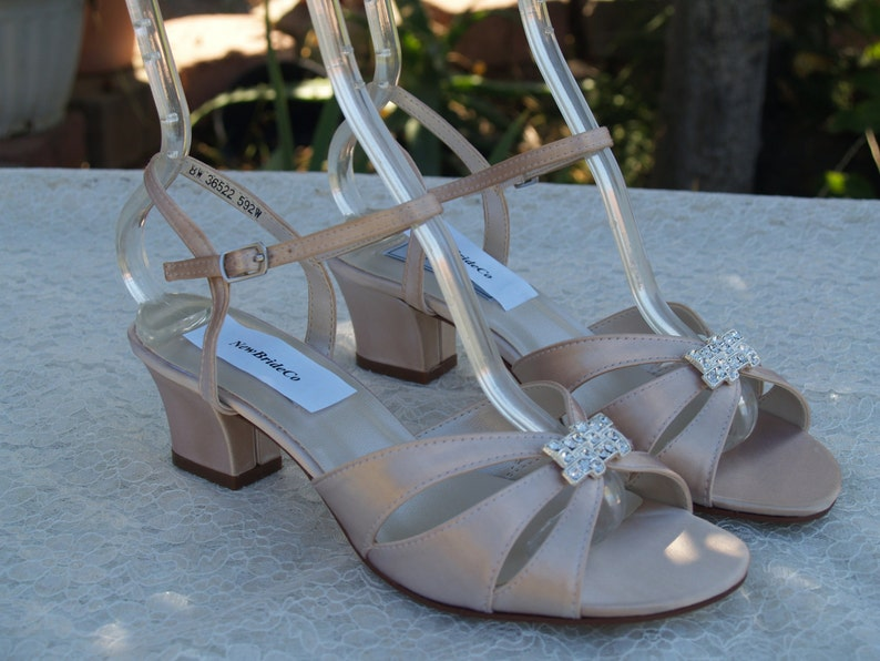 b5e7c28058bf Champagne Low Heel shoes Wedding open toe short square heel