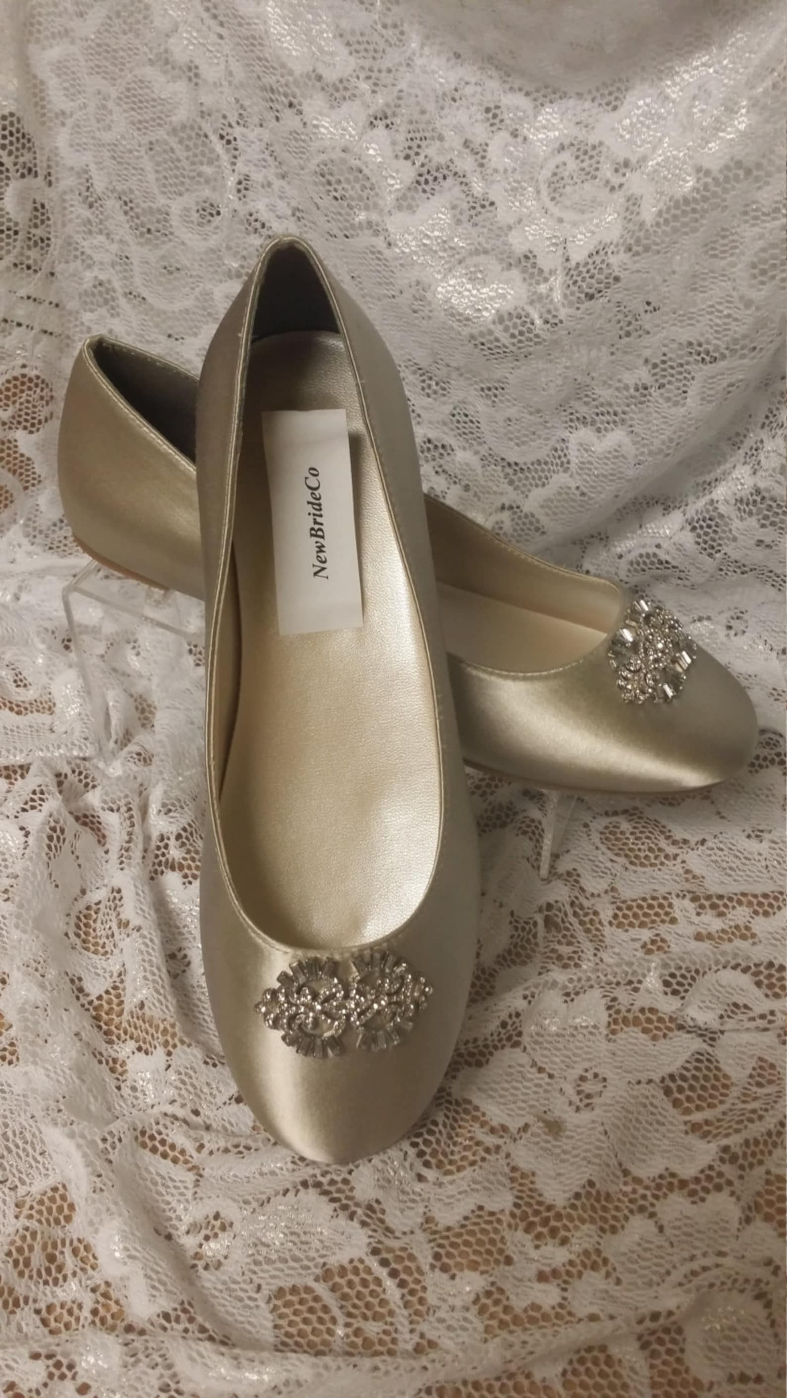 size 7 ready to ship flat shoes nude color with brooch - neutral nude color satin flats,non slip satin ballet style slipper flat
