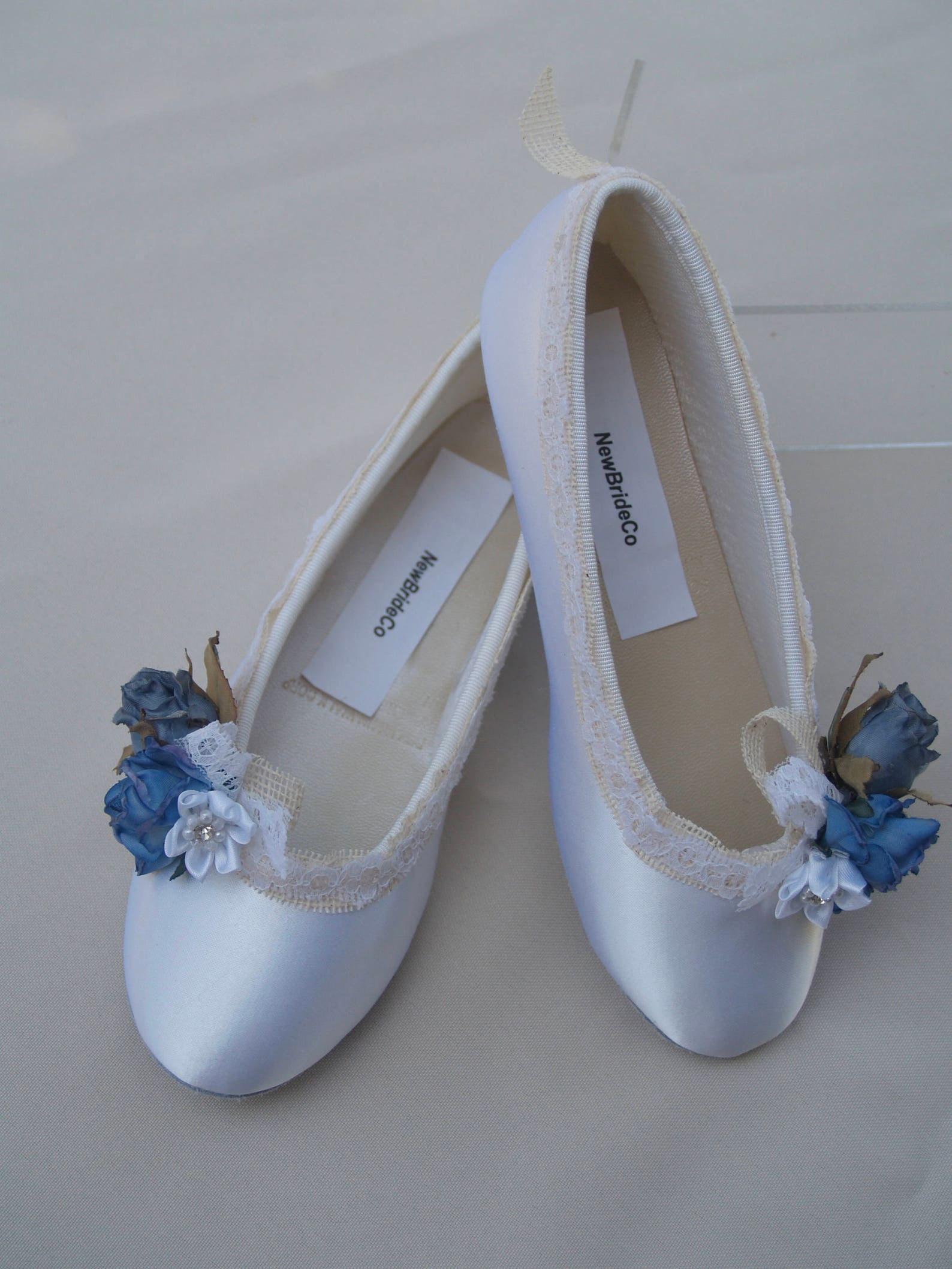 wedding flats blue flowers and burlap edging, ivory or white satin shoes, something blue wedding flats, lace up ribbon, ballet s