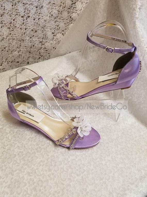 633ac57250b Bling Lilac Wedding Shoes low Wedge 1