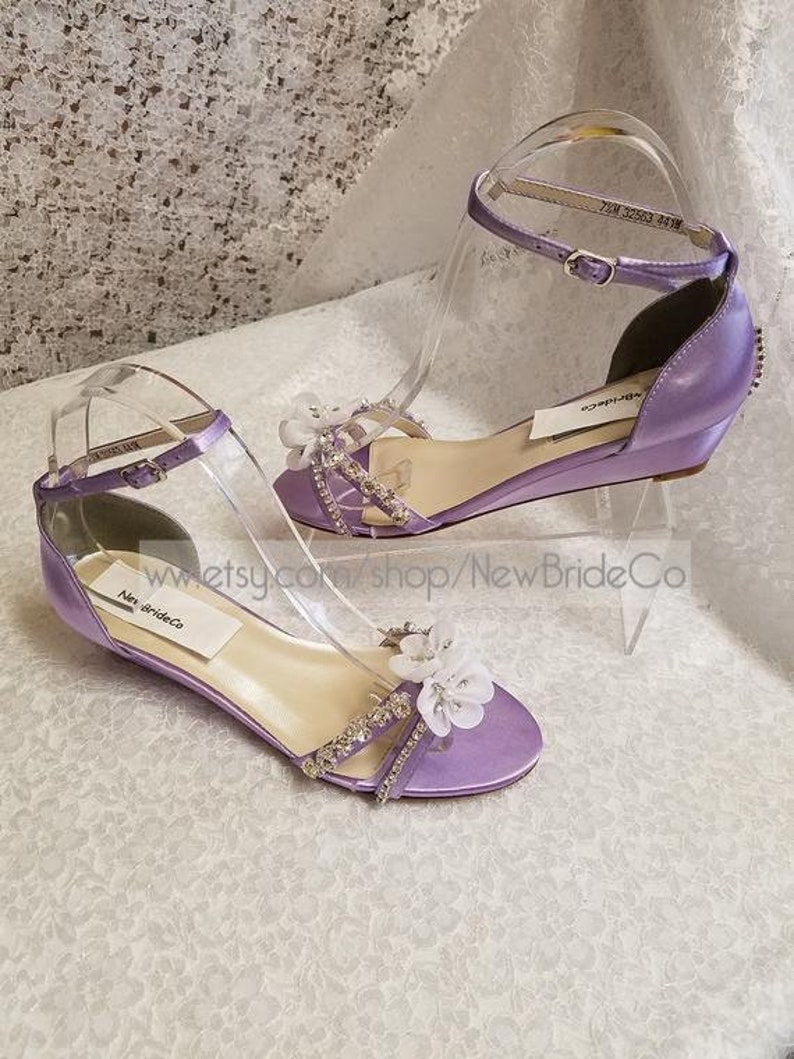 83f2748f5a2 Bling Lilac Wedding Shoes low Wedge 1 inch heel