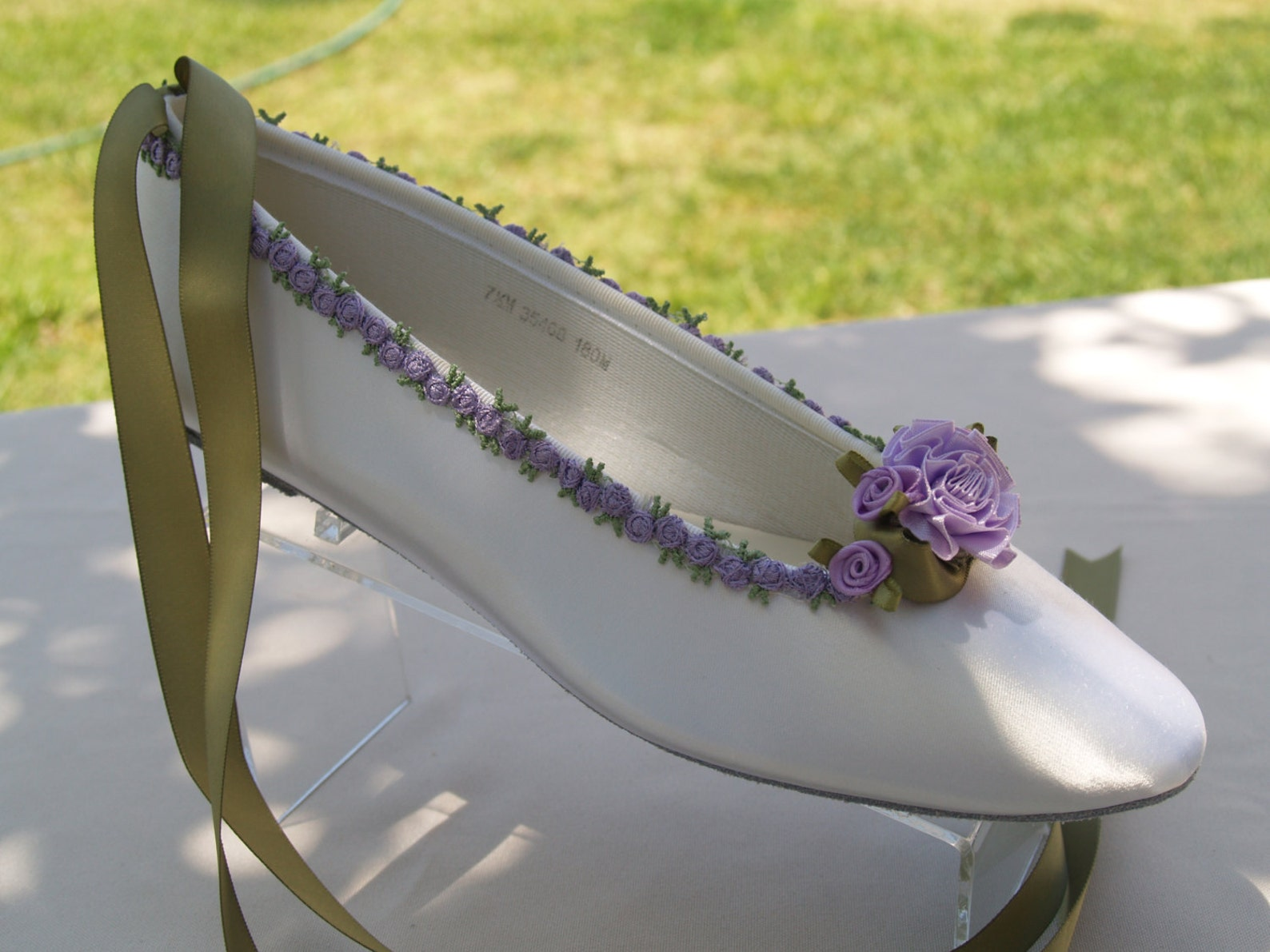 fairy tale wedding flats lavender flower trim green lavender, ivory or white ballet style slipper style lace up ribbon style,tou