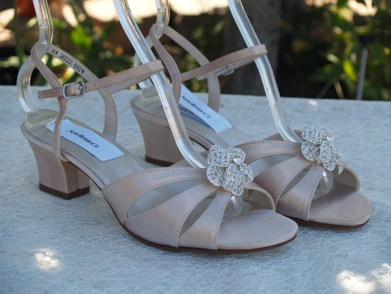 online for sale professional sale uk cheap sale Champagne WEDDING Shoes low heel, open toe short square heel sandal B and W  width comfortable heel,Crystals flower Brooch,Wide Width