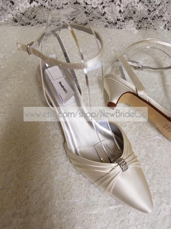 Shoes closed toes Very low heel,White Ivory Wedding pointy low heel, Kitten Heel,Ankle Strap