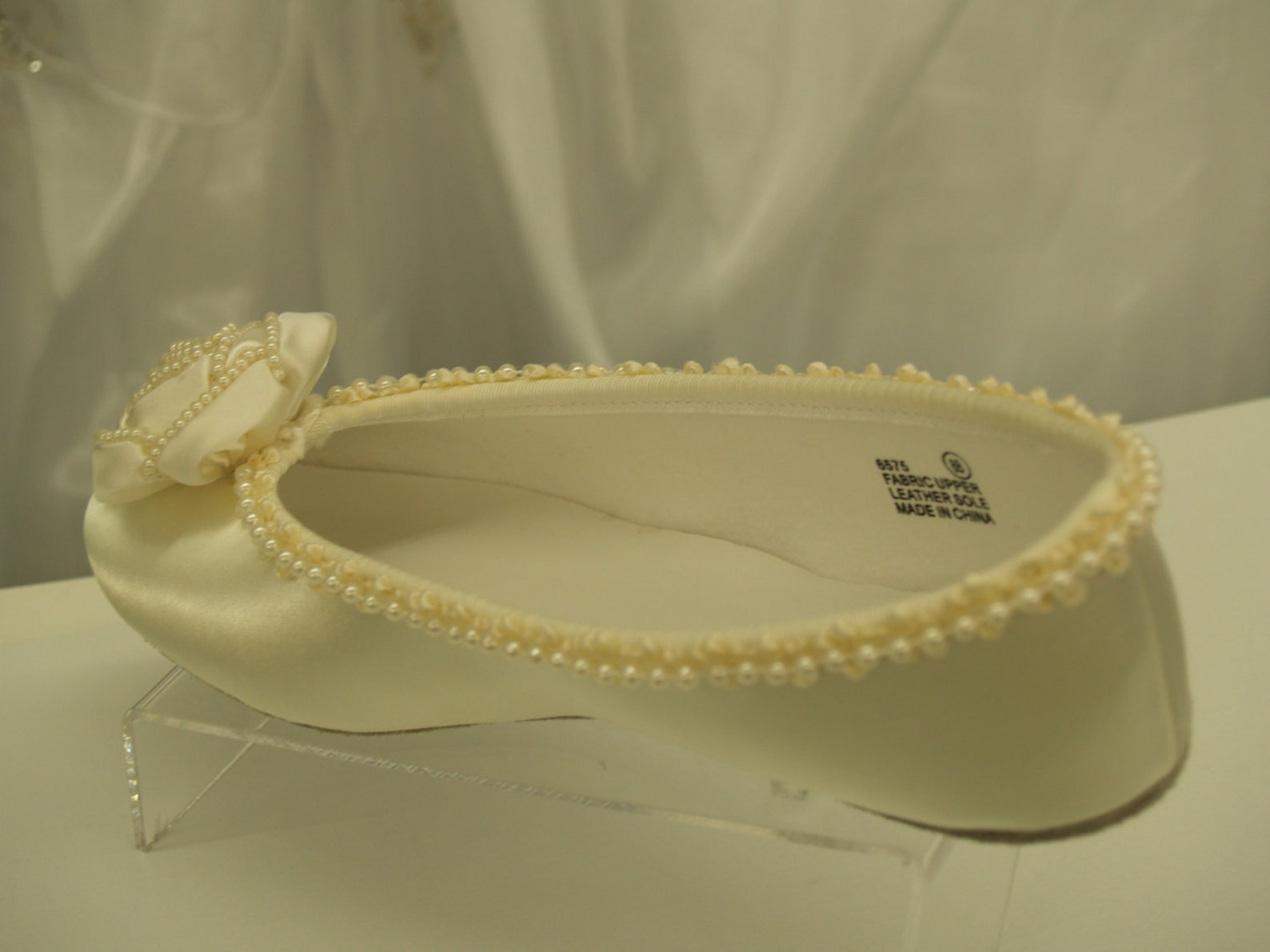 wedding ivory flats fancy pearls satin rossette, ballet style slipper, comfortable ivory shoes, fabric rose, pearl trimmed, sati