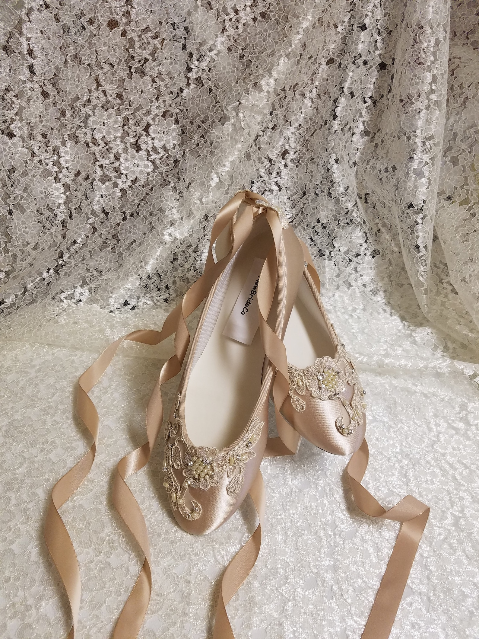 gold champagne shoes ballerina style satin lace appliqué crystals pearls, lace up ribbon ballet style slipper, comfortable weddi
