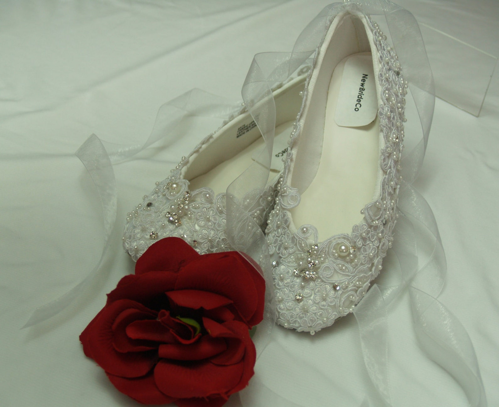 wedding ballet style slippers regally enhanced w lace swarovski crystals and pearls - white or ivory, edwardian, great gatsby, o