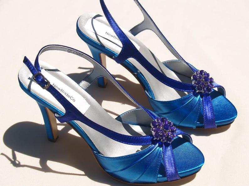 285861ff00e51 Wedding Shoes White Purple Blue high heelsSatin Blue heels | Etsy