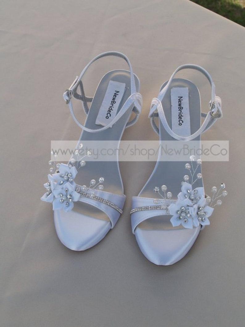 bd477b24b93 Wedding Shoes low Wedge 1 inch heel flowers crystals,Short Heel,White Satin  Open Toe Bridal Sandal, Bling, White Flowers, Old Hollywood,Deco