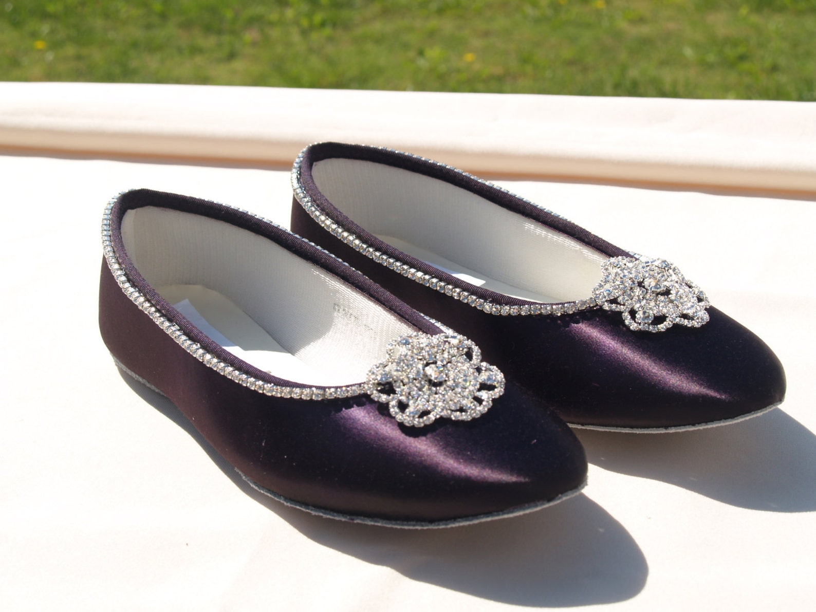 bling wedding shoes, purple flats, 15+ colors shoes satin ballet style flat slipper, wedding shoes, bridesmaids, special occasio