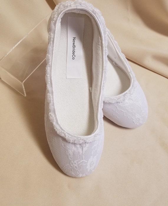 White Bride Confort Flats Size 7satin Lace Vegan Shoes Etsy