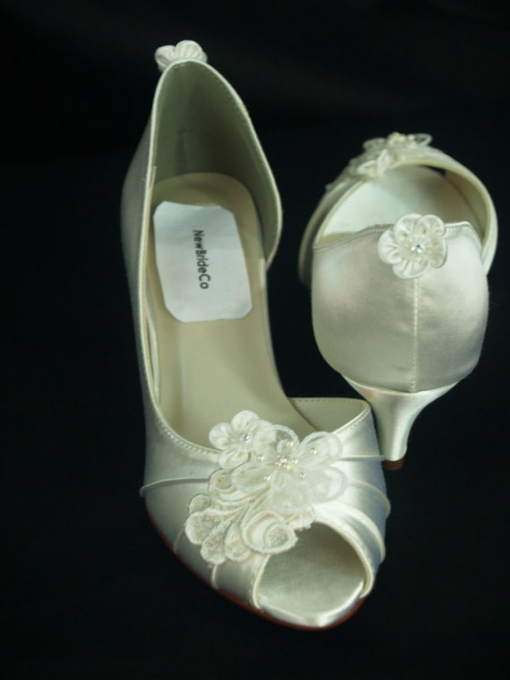 White Wedding Shoes kitten heel Ivory or White or Off White
