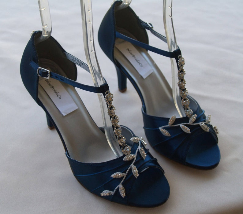 12e351733f2 Blue Wedding Shoes Navy Blue with Silver Swarovski Crystals