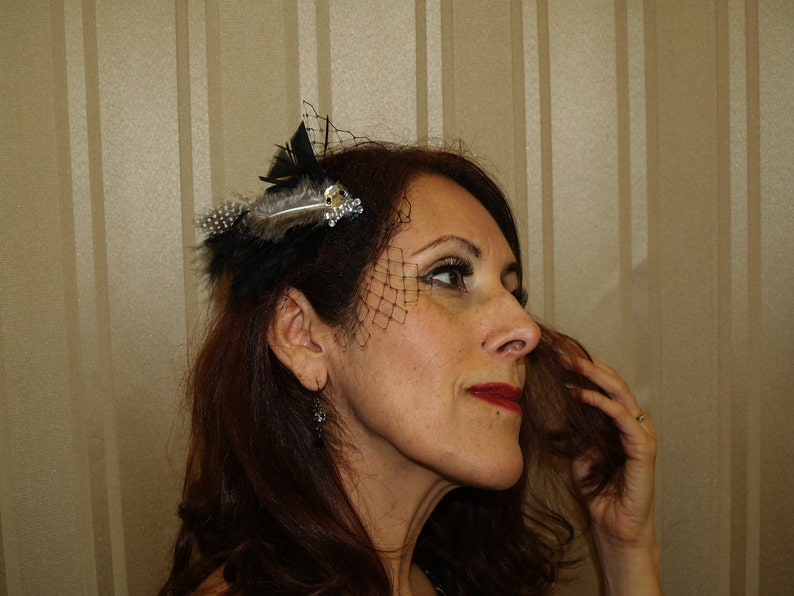 halloween party fascinator Gothic HAIR CLIP ornament with skull