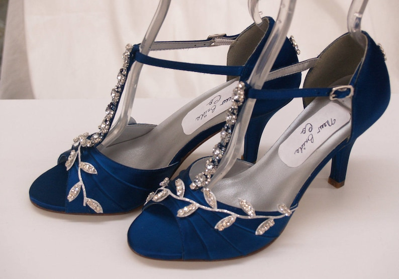 9fde5c53e5 Blue Wedding Shoes Royal Blue with Silver Swarovski Crystals, peep toe,  covered heel ankle strap, hand dyed satin, bling , satin heels