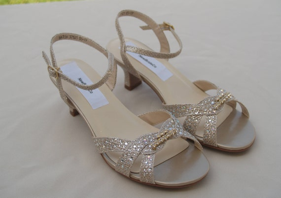 Girls Gold shimmer Shoes with Crystals