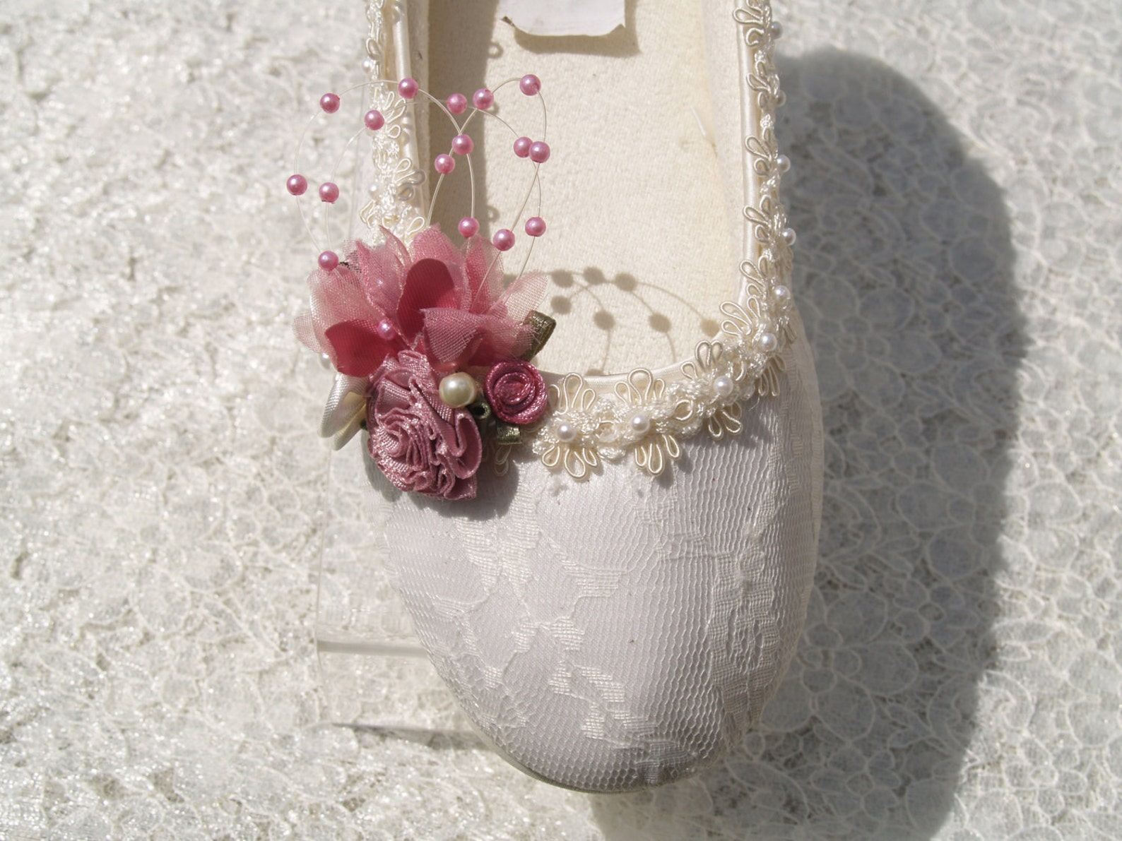 size 5 wedding ivory flats vegan rose shoes ready to ship embellished w pearls gimp edge,gorgeous victorian style ballet slipper