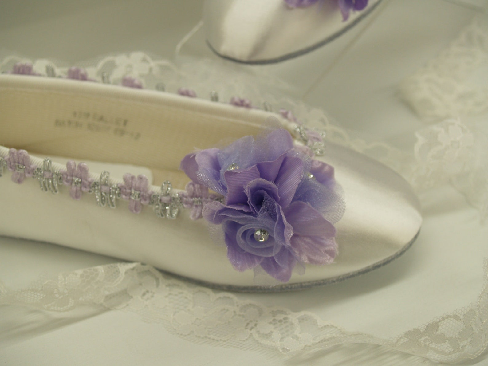 size 12 flower girls ballet style slippers white w purple flower w silver accents ready to ship,lace up ribbon ballet slipper,be