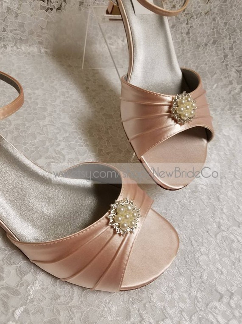 65a6ac32a2d5 BLUSH PINK Wedding Shoes 1 3 4   heel lace PEARLS and