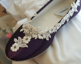 Victorian Flats Eggplant Ivory Shoes Fine US Lace pearls and crystals embellished, Sweet Sixteen,Purple ballet style slippers,fine lace trim