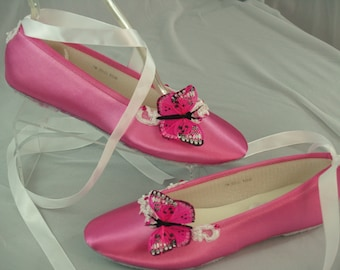 Size 7 Hot Pink Wedding Flat Shoes,Hot Pink Butterflies & Ballet Style Slipper,Ballet Lace Up Ribbon, Quinceanera , Mariposa,Ready to Ship