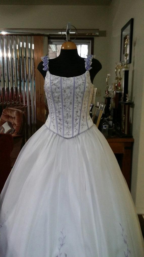 Wedding Vintage Dress purple flowers Corset beaded