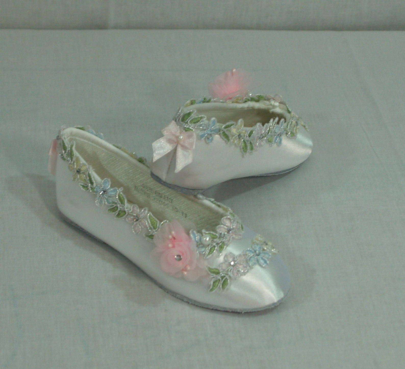 pastel flower girls shoes white satin flats, girls ballet style slippers, closed toe flats, pink, whimsical, woodland,garden chi