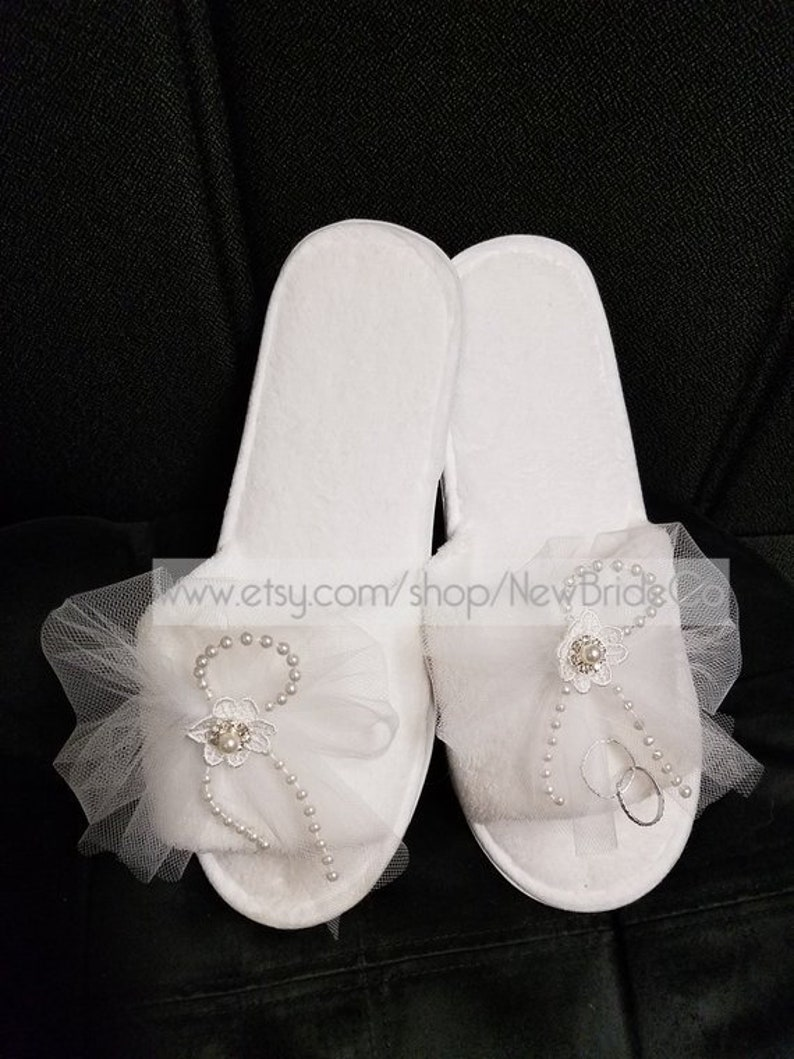 182323d53a50a Brides Honeymoon Slippers white tulle veil one set of rings lace  flowers,Bridal Slippers, Brides Comfort,Bridal Shower Gift,Wedding Slippers